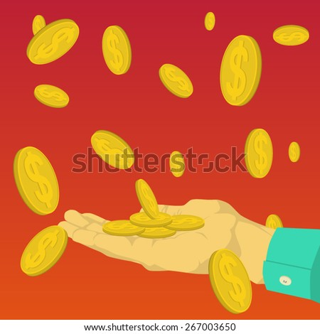 Hand catching money falling from the sky - stock vector