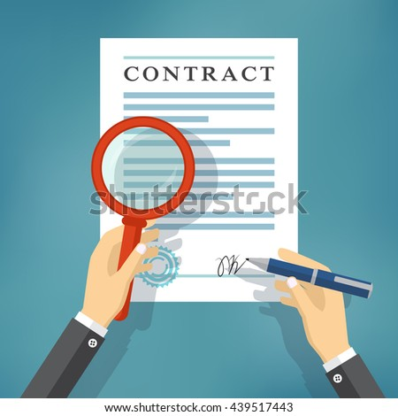 Hand checking contract with a magnifying glass before signing. Contract inspection concept. Hands holding magnifying glass and pen over a contract.