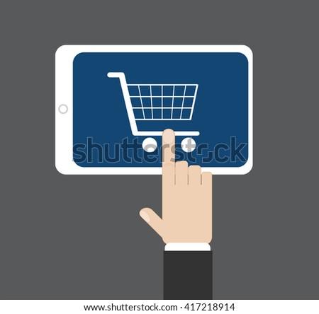 Hand click on a supermarket cart at tablet screen, vector illustration - stock vector