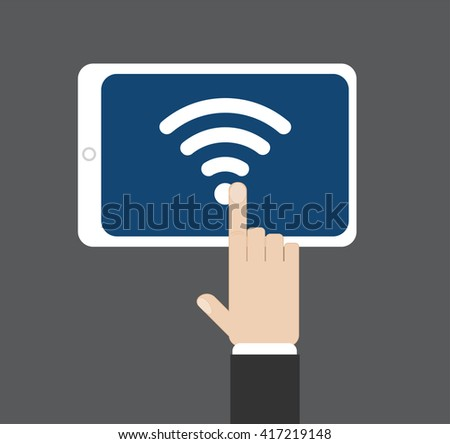 Hand click on wifi icon at tablet screen, vector illustration - stock vector