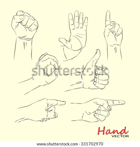 Hand collection. Set of vector sketches.