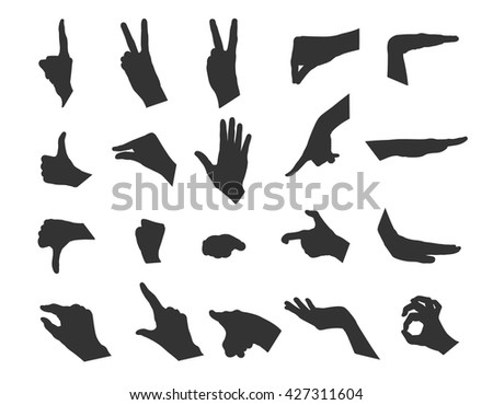 Hand collection - vector illustration. Set of 20 gestures. Black silhouette hand on white background.