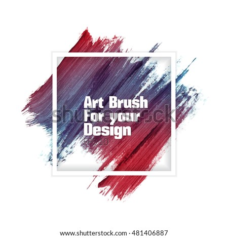 Hand colorful artistic brush strokes. Abstract vector grunge brushes. Paint smear strokes on a white background.