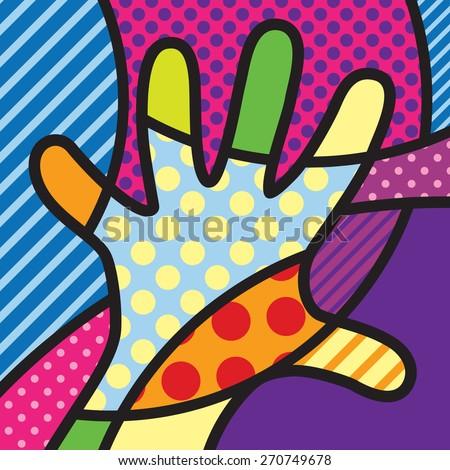 Hand. Colorful. Pop-art modern illustration for your design.  - stock vector