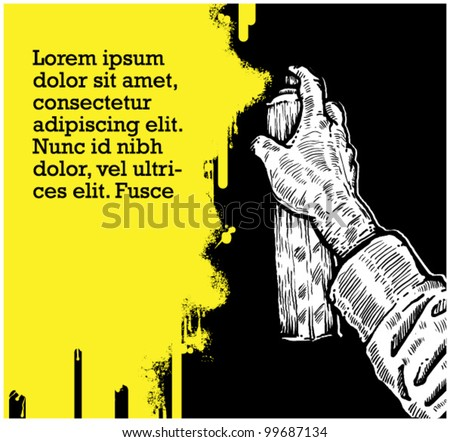 hand coloring graffiti for message - stock vector