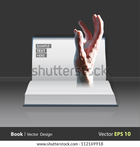 Hand coming out of a book. Vector design. - stock vector