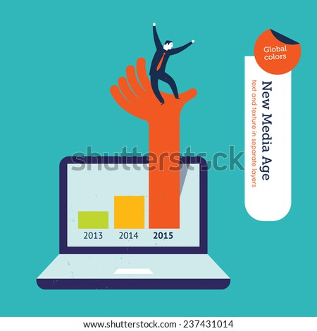 Hand coming out of a laptop in 2015 with businessman. Vector illustration Eps10 file. Global colors. Text and Texture in separate layers. - stock vector