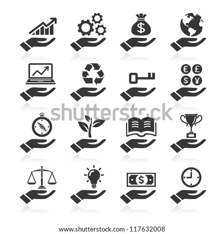 Hand concept icons. vector eps 10 - stock vector
