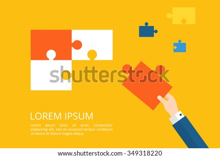 Hand connect puzzle. Business Strategy Concept. - stock vector