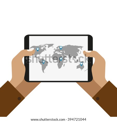 Hand  Connecting World on a Tablet - stock vector