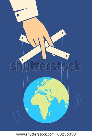 Hand controls the Earth like a puppet - stock vector