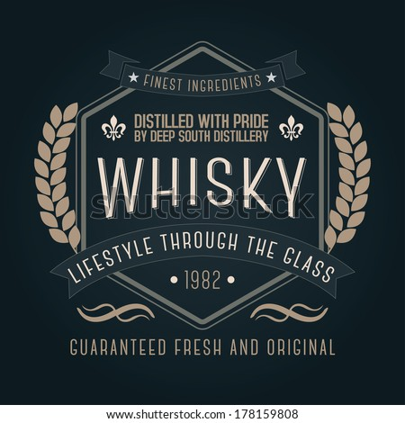 Hand crafted whisky lettering for label and packaging  - stock vector