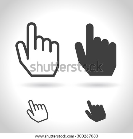 Hand cursor. For touch screen and device. Vector, flat design