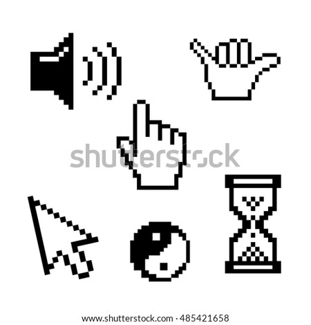 hand cursor hourglass Yin Yang vector illustration