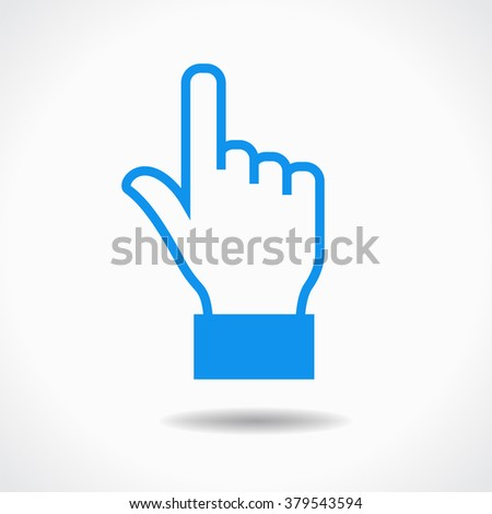 Hand cursor icon. Blue icon on white background. The file is saved in the version 10 EPS. This image contains transparency. - stock vector