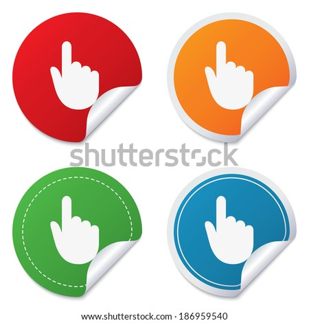 Hand cursor sign icon. Hand pointer symbol. Round stickers. Circle labels with shadows. Curved corner. Vector