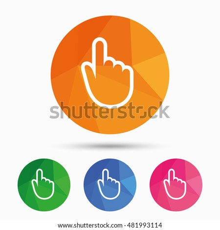 Hand cursor sign icon. Hand pointer symbol. Triangular low poly button with flat icon. Vector