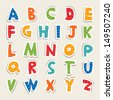 Hand cut vector alphabet sticker set in bright vintage colors. Good for scrap booking, school projects, posters, textiles. See my folio for JPEG version and for more alphabets. - stock vector