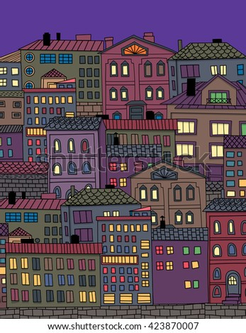 Hand  dawn houses and buildings. Doodle town illustration.