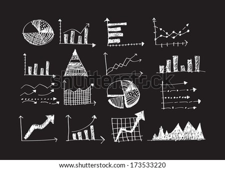 hand doodle Business Graph charts  - stock vector