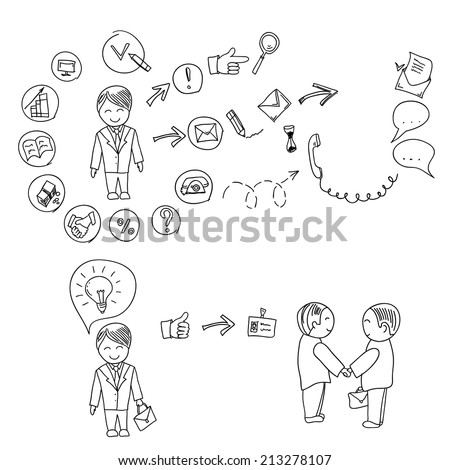 Hand doodle Business icon set idea design on a white background infographics, job search, resume. vector