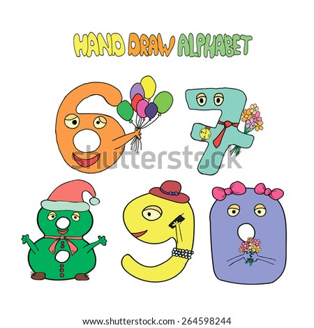 Hand draw alphabet and numbers. Vector illustration - stock vector