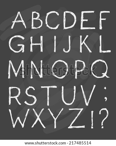 Hand draw alphabet on blackboard. Vector illustration.