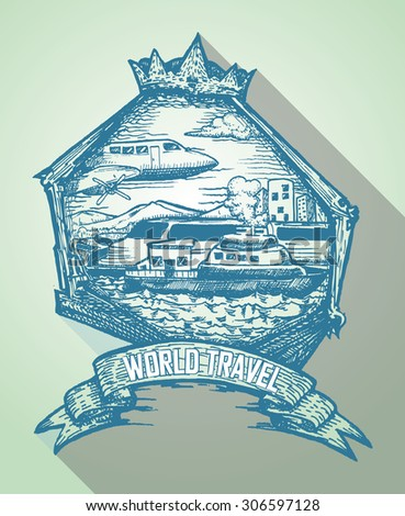 hand draw badge for travel icon, in monochrome color - stock vector