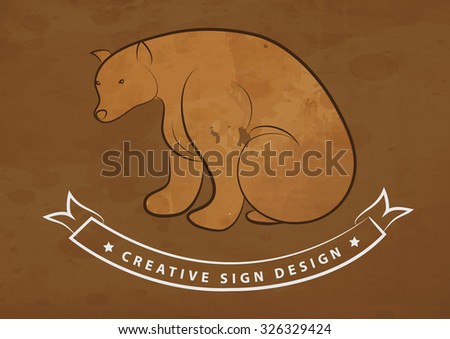 hand draw bare - stock vector