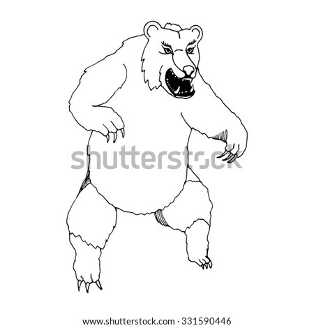 Hand Draw Bear Screaming And Standing On Its Hind Legs With Sharp Fangs For Raskarashivaniya