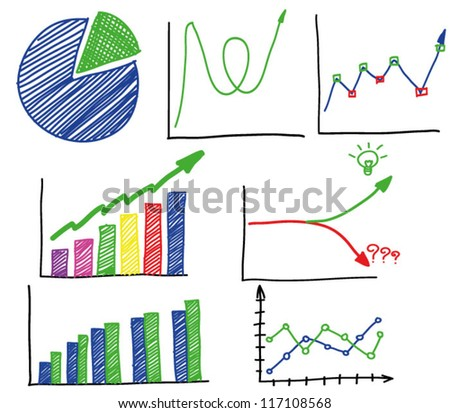 Hand draw Business charts - stock vector