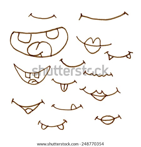 hand draw cartoon mouth icon. Set of smiling mouth - stock vector