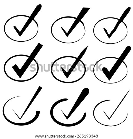 hand draw check mark - stock vector