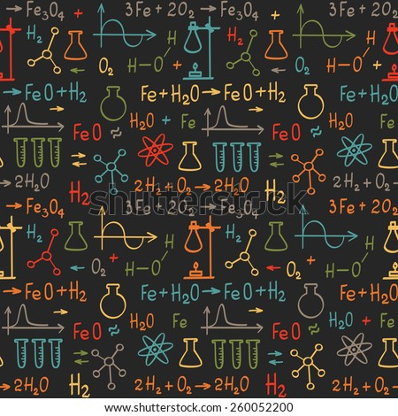 Hand draw chemistry on black background. Vector seamless pattern.