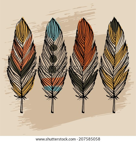 Hand draw colorful feather ethnic vector set - stock vector
