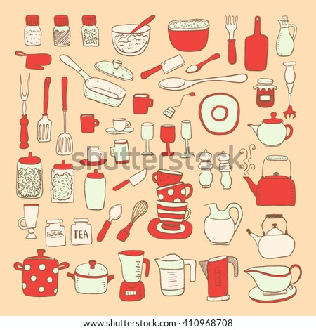 Hand draw colorful kitchen utensils collection