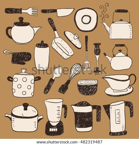 Hand draw colorful kitchen utensils sketch collection