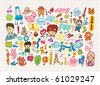 hand draw cute cartoon element,vector illustration - stock vector