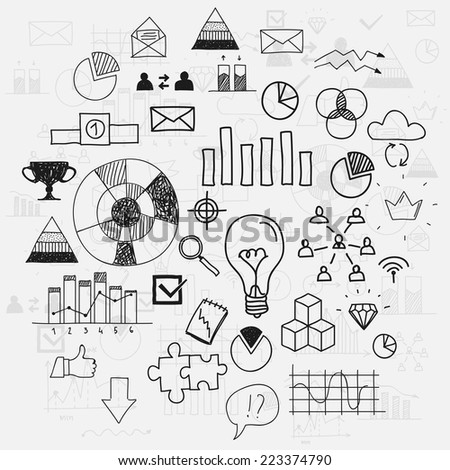 Hand draw doodle elements business scetches Concept infographic finance analytics learnings progress leadership - stock vector