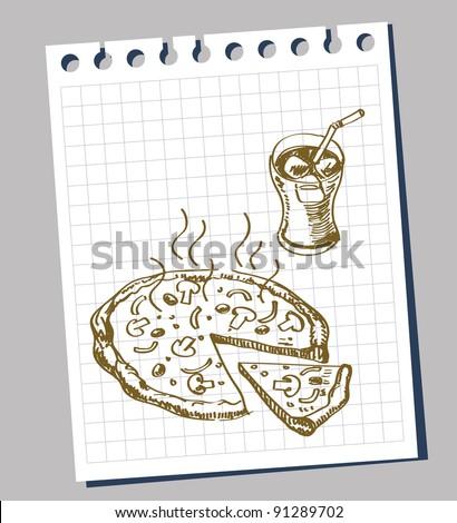 hand-draw doodle sketch pizza cartoon - stock vector