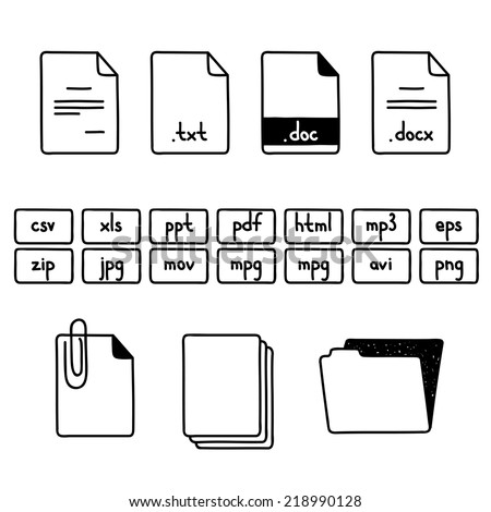 Hand draw doodle sketch set of document file formats icons - stock vector