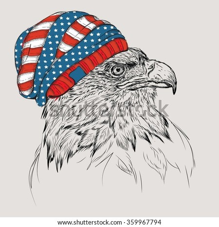 Hand draw eagle in a USA hat. Vector illustration