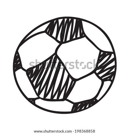Hand draw football ball isolated illustration on white background - stock vector