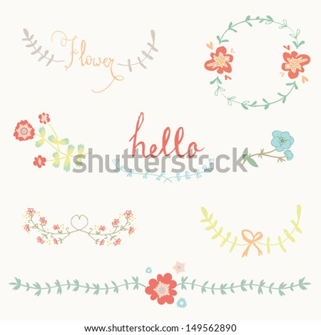 Hand-draw graphic flower set - stock vector