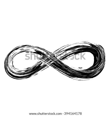 hand draw grunge symbol of infinity, vector illustration sign - stock vector