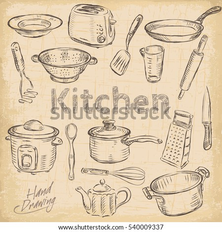 Hand Draw Kitchen Utensils Collection Vector Illustration