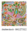 hand draw marker flower vector ethnic design. Ukrainian traditional painting - stock vector