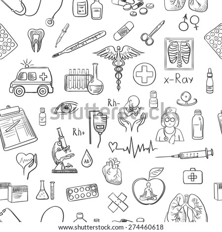 hand draw medicine pattern, excellent vector illustration, EPS 10 - stock vector