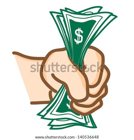 Hand draw Money in hand Vector - stock vector