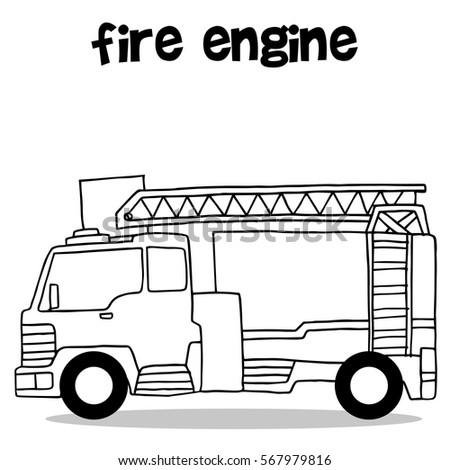 hand draw of fire engine vector art